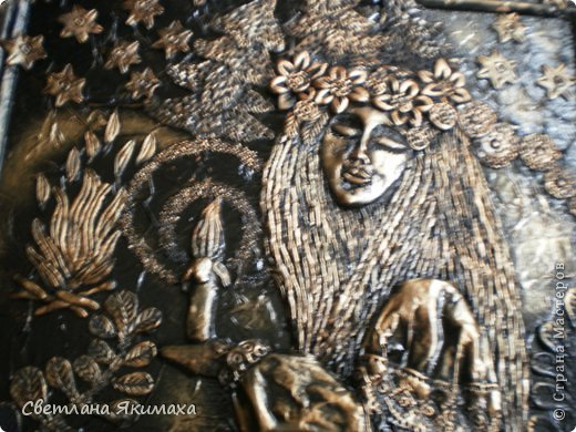 приветствую всех мастеров, новичков и гостей страны мастеров! прошел праздник Ивана купала , полыхание костров, мерцание свечей, плетение и пускание на воду венков, поиск таинственного цветка папоротника который зацветает этой ночью и нашедшему исполняет все желания... это красивая легенда, в нашей степи папоротник ни со свечкой, ни с огнем не сыскать, но молодежь пускает китайские фонарики,прыгает через костер загадывая себе счастливую судьбу. вот и захотелось поселить у себя дома эту красивую легенду воплощенной в панно. фото 30