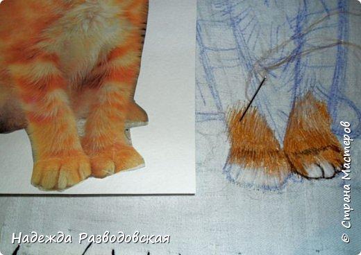 В данном мастер-классе по просьбам любителей вышивки я решила показать наглядно, как я вышиваю гладью синтетическими нитками - на примере кота Рыжика. Р.S.Дополнено 14.05.2015г. Обнаружила свой мастер класс по вышивке гладью кота Рыжика на сайте http://svoimi-rukami-club.ru/мастер-класс-по-вышивке-гладью-рыжего-кота/ с заретушированными и вырезанными логотипами сайта Страны Мастеров и своего ника без моего разрешения и без указания ссылки на сайт Страны Мастеров. Советую мастерам заглянуть на этот сайт и проверить, нет ли там ваших работ и мастер-классов, с которыми поступили точно также, как с моим МК по вышивке гладью кота Рыжика. фото 15