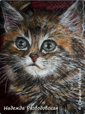 В данном мастер-классе по просьбам любителей вышивки я решила показать наглядно, как я вышиваю гладью синтетическими нитками - на примере кота Рыжика. Р.S.Дополнено 14.05.2015г. Обнаружила свой мастер класс по вышивке гладью кота Рыжика на сайте http://svoimi-rukami-club.ru/мастер-класс-по-вышивке-гладью-рыжего-кота/ с заретушированными и вырезанными логотипами сайта Страны Мастеров и своего ника без моего разрешения и без указания ссылки на сайт Страны Мастеров. Советую мастерам заглянуть на этот сайт и проверить, нет ли там ваших работ и мастер-классов, с которыми поступили точно также, как с моим МК по вышивке гладью кота Рыжика. фото 51