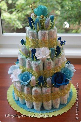 торт з памперсами и конфетами. 69 памперсов, 39 конфет АВК Трюфель фиолетовый фото 6