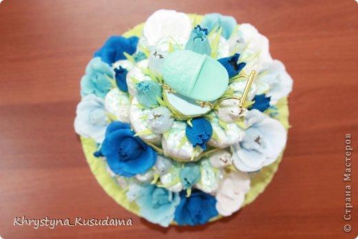 торт з памперсами и конфетами. 69 памперсов, 39 конфет АВК Трюфель фиолетовый фото 8