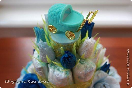 торт з памперсами и конфетами. 69 памперсов, 39 конфет АВК Трюфель фиолетовый фото 1