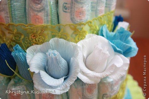 торт з памперсами и конфетами. 69 памперсов, 39 конфет АВК Трюфель фиолетовый фото 9