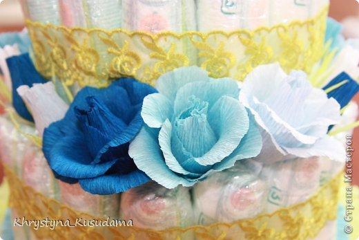 торт з памперсами и конфетами. 69 памперсов, 39 конфет АВК Трюфель фиолетовый фото 10