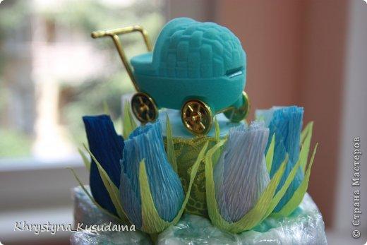 торт з памперсами и конфетами. 69 памперсов, 39 конфет АВК Трюфель фиолетовый фото 11