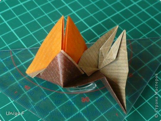 Это второй член королевской четы. Фараон (ну кому ж еще быть?)   Name: Pharaoh Designer: Maria Sinayskaya                 Diadem kusudama https://www.flickr.com/photos/51642560@N02/5096622060/in/set-72157624275437833/ Variation: Uniya Filonova Parts: 30 + 60 Paper: 7,5 x 7,5 + 5 x 5 Final height: ~ 12 cm Joint: no glue фото 13