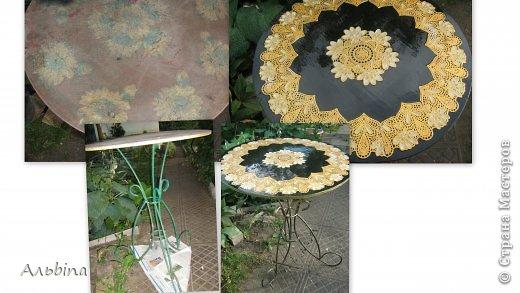 В продолжение темы работы  с виниловыми салфетками расскажу как я реставрировала старый уличный столик) фото 10