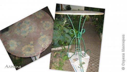 В продолжение темы работы  с виниловыми салфетками расскажу как я реставрировала старый уличный столик) фото 2