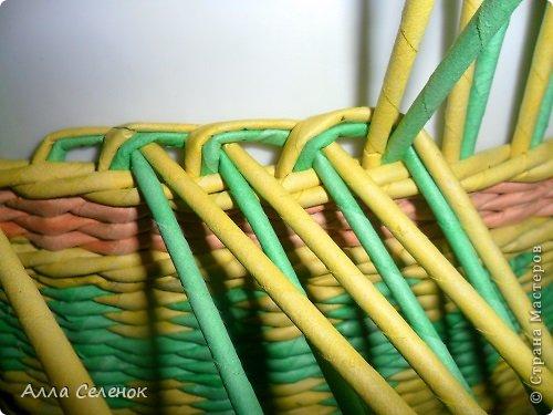 Мастер-класс Поделка изделие Плетение Очередная корзиночка и обещаныё МК Загибки Бумага газетная Трубочки бумажные фото 5
