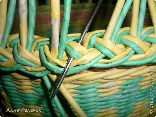 Мастер-класс Поделка изделие Плетение Очередная корзиночка и обещаныё МК Загибки Бумага газетная Трубочки бумажные фото 9
