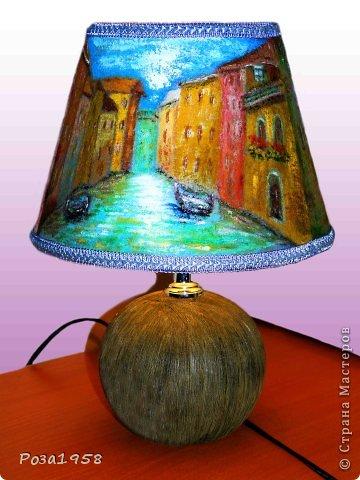 """Светильник из шерсти """"Каналы Венеции"""". Мокрое валяние. Высота 36 см. Абажур 19 см. Расписан акриловыми красками. фото 2"""