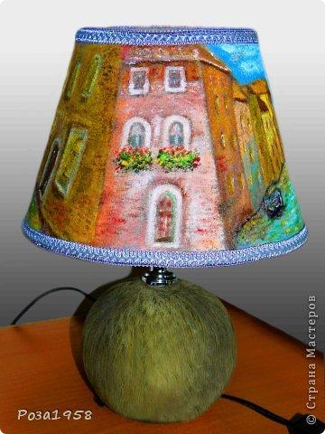 """Светильник из шерсти """"Каналы Венеции"""". Мокрое валяние. Высота 36 см. Абажур 19 см. Расписан акриловыми красками. фото 4"""