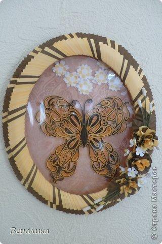 Сегодня я решила показать вам, дорогие мастерицы и мастера,бабочку в рамочке.При ее изготовлении использованы полоски шириной 3мм светло- желтого и коричневого цвета.Фон- бумага для скрапа светло-бежевого цвета с нарисоваными белыми цветочками, которые я сделала объемными с помощью дырокола. фото 1