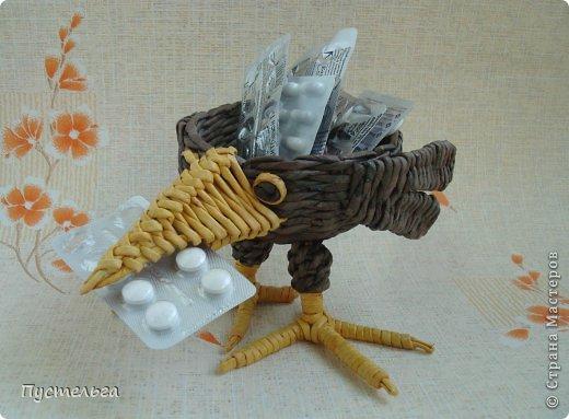 Мастер-класс Поделка изделие Плетение Сорока ворона Бумага Трубочки бумажные  19