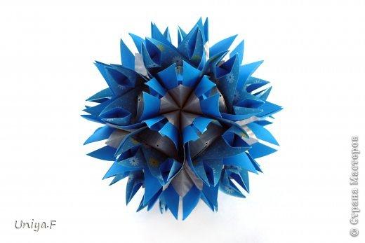 Это второй член королевской четы. Фараон (ну кому ж еще быть?)   Name: Pharaoh Designer: Maria Sinayskaya                 Diadem kusudama https://www.flickr.com/photos/51642560@N02/5096622060/in/set-72157624275437833/ Variation: Uniya Filonova Parts: 30 + 60 Paper: 7,5 x 7,5 + 5 x 5 Final height: ~ 12 cm Joint: no glue фото 1