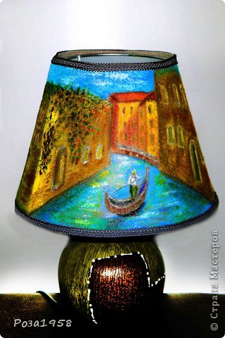 """Светильник из шерсти """"Каналы Венеции"""". Мокрое валяние. Высота 36 см. Абажур 19 см. Расписан акриловыми красками. фото 5"""