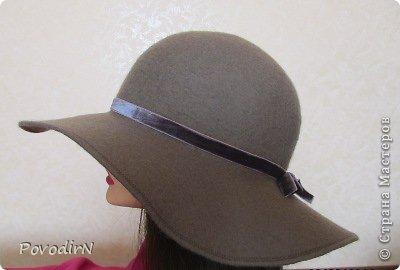 Шляпка (56 размер) с широкими полями на плоском шаблоне. фото 2
