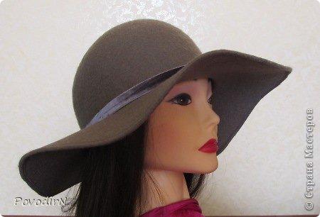 Шляпка (56 размер) с широкими полями на плоском шаблоне. фото 27