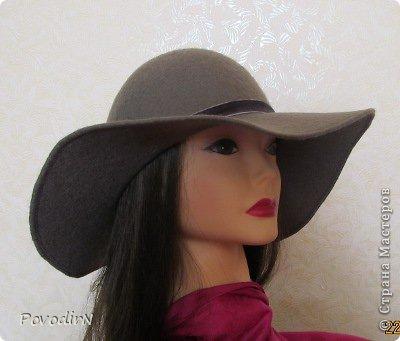 Шляпка (56 размер) с широкими полями на плоском шаблоне. фото 28