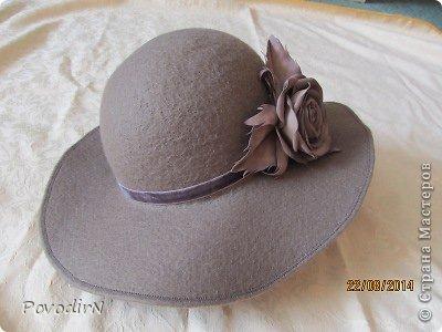 Шляпка (56 размер) с широкими полями на плоском шаблоне. фото 31