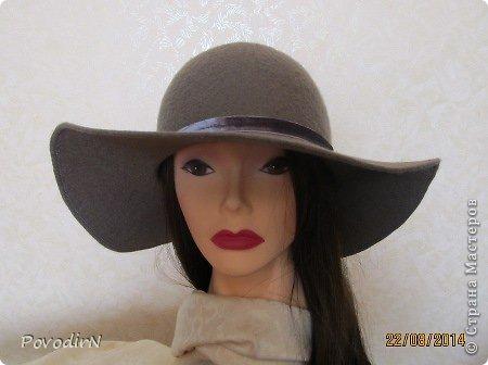 Шляпка (56 размер) с широкими полями на плоском шаблоне. фото 32