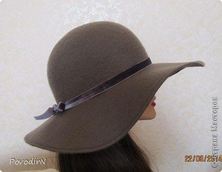 Шляпка (56 размер) с широкими полями на плоском шаблоне. фото 33