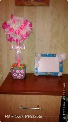 Топиарушка для сестренки на день рождения!Розы из атласной ленты шириной 2.5 см фото 1