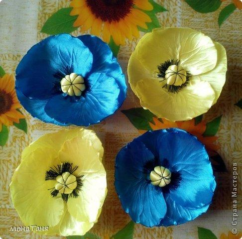 Мои первые цветы из лент фото 5