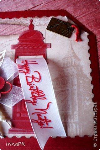 Такую открытку-сумочку сделала племяннице на День рождения. Она изучает английский язык, хочет стать переводчиком, поэтому открытку решила посвятить чайной церемонии в Англии. Вдохновила меня на такую упаковку Альбина https://stranamasterov.ru/node/516167, большое ей спасибо! Оформление вырубками, ленточками, бусинки - на леске. Пожелание-поздравление закреплено. фото 8