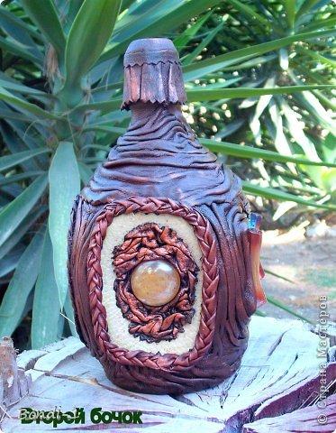 Декор предметов Мастер-класс Подарок хорошему человеку Бутылки стеклянные Кожа фото 5