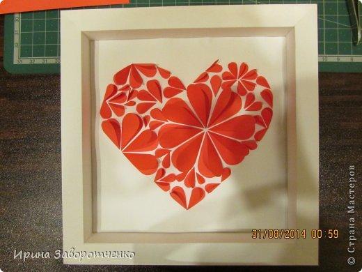 Картина панно рисунок День матери Аппликация Панно Сердце + МК Бумага фото 9