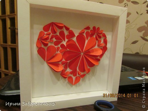 Картина панно рисунок День матери Аппликация Панно Сердце + МК Бумага фото 10