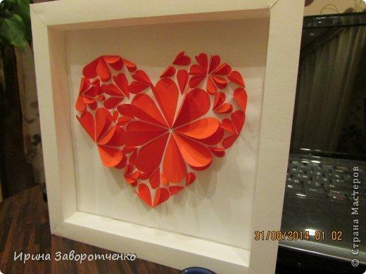 Картина панно рисунок День матери Аппликация Панно Сердце + МК Бумага фото 11
