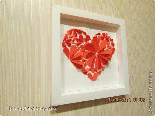 Картина панно рисунок День матери Аппликация Панно Сердце + МК Бумага фото 13