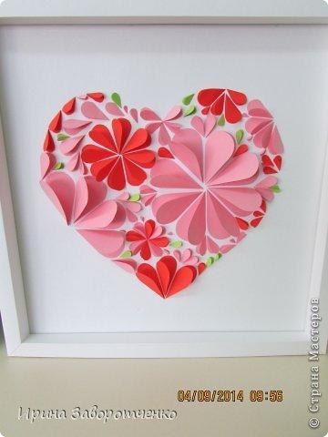 Картина панно рисунок Валентинов день Аппликация Вырезание Панно Нежность  из сердечек + МК Бумага фото 1