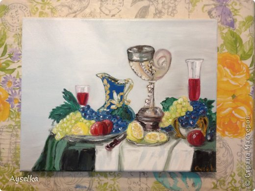 Решила попробовать что-то новое, никогда не рисовала натюрморты, портреты, - все время были пейзажи (потому что рисовать не умею, а пейзажи - это самое легкое для новичка как я =) Надеюсь со временем научится, а пока вот что у меня  вышло:   масло, холст 29\32. по картине Натальи (к сожалению фамилии не знаю, есть ник :nataliechrustal - eto na jarmarke masterov). фото 5