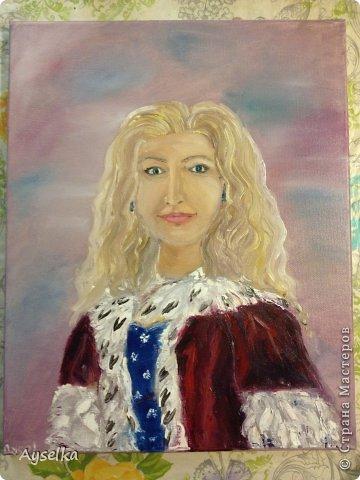 Решила попробовать что-то новое, никогда не рисовала натюрморты, портреты, - все время были пейзажи (потому что рисовать не умею, а пейзажи - это самое легкое для новичка как я =) Надеюсь со временем научится, а пока вот что у меня  вышло:   масло, холст 29\32. по картине Натальи (к сожалению фамилии не знаю, есть ник :nataliechrustal - eto na jarmarke masterov). фото 7