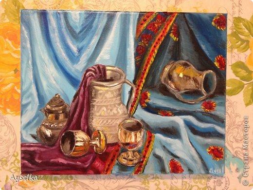 Решила попробовать что-то новое, никогда не рисовала натюрморты, портреты, - все время были пейзажи (потому что рисовать не умею, а пейзажи - это самое легкое для новичка как я =) Надеюсь со временем научится, а пока вот что у меня  вышло:   масло, холст 29\32. по картине Натальи (к сожалению фамилии не знаю, есть ник :nataliechrustal - eto na jarmarke masterov). фото 1