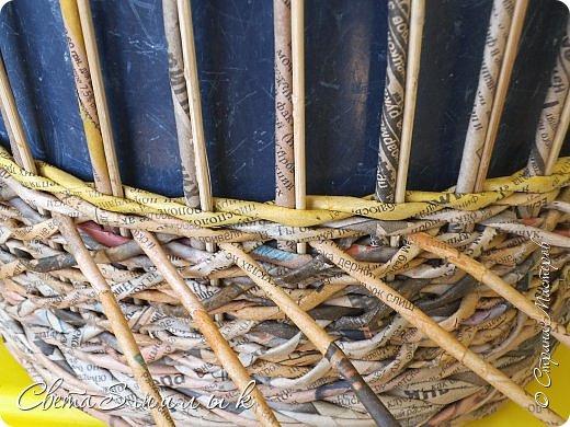 Мастер-класс Поделка изделие Плетение Корзины для овощей - Бумага газетная Трубочки бумажные фото 18
