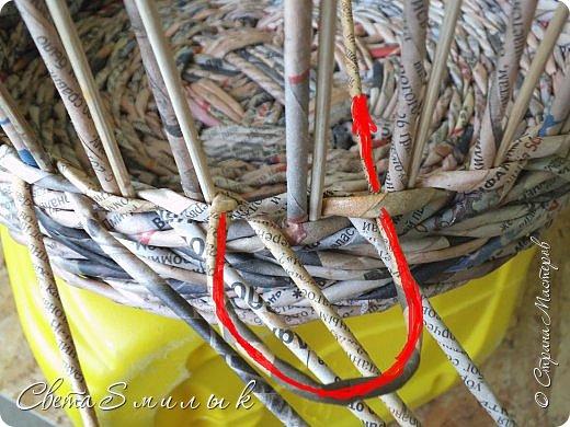 Мастер-класс Поделка изделие Плетение Корзины для овощей - Бумага газетная Трубочки бумажные фото 16