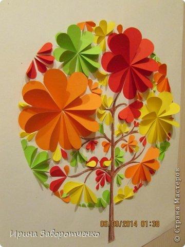 Картина панно рисунок Аппликация Панно Осень  из сердечек + Шаблоны Бумага фото 3