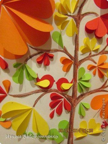 Картина панно рисунок Аппликация Панно Осень  из сердечек + Шаблоны Бумага фото 4