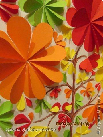 Картина панно рисунок Аппликация Панно Осень  из сердечек + Шаблоны Бумага фото 5