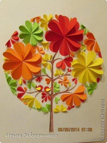 Картина панно рисунок Аппликация Панно Осень  из сердечек + Шаблоны Бумага фото 6