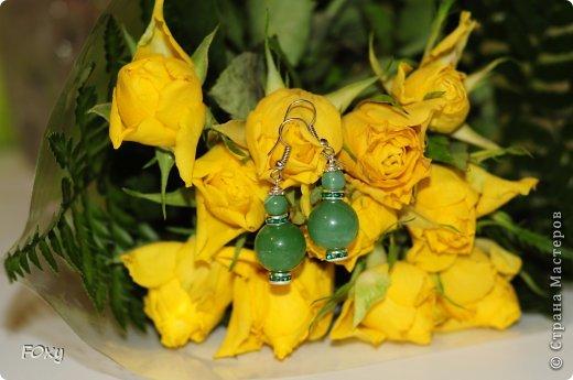 Комплект украшений (колье и серьги). Бусины зеленого агата, метал. фурнитура, срез агата, индонезийские бусины фото 3