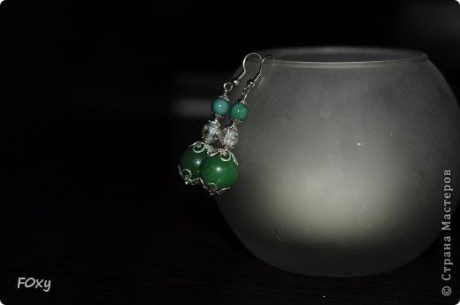 Серьги. Бусины из зеленого агата и хризоколла фото 1