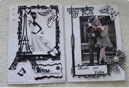 Доброе утро Страна! Сегодня я к вам с черно-белыми открытками, сделанными в последний день отпуска, но обо всём по порядку... Попросили меня сделать открытку на день рождения, но обязательно в черно-белых тонах и формата А5. Стала я искать на прсторах интернета картинки в заказанной гамме и ... не смогла остановится! Я просто влюбилась в них, мне захотелось их делать и делать, меня, как Остапа, у Ильфа и Петрова понесло...(благо я ещё была в отпуске и на работу бежать не надо). Ну а результат будет перед вами.   фото 1