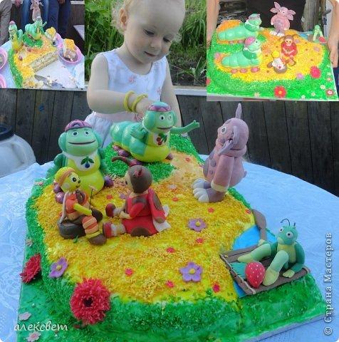 Здраствуйте. Вот такой торт Нина  сама приготовила   для своей доченьки Насте на 2 годика. фото 5