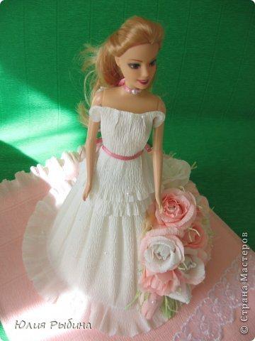 Здравствуйте, Мастерицы!!! Вот и я попробовала сделать свою нежную куколку в подарок маленькой девочке на день варенья! Очень торопилась, старалась, даже взорвался клей-пистолет, уж очень устал))) фото 5