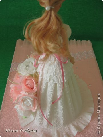 Здравствуйте, Мастерицы!!! Вот и я попробовала сделать свою нежную куколку в подарок маленькой девочке на день варенья! Очень торопилась, старалась, даже взорвался клей-пистолет, уж очень устал))) фото 6